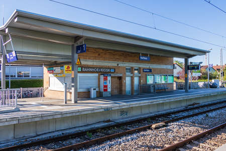 Municipal Germering, District Fuerstenfeldbruck, Upper Bavaria, Germany: S-Train Station, Harthaus with Kiosk and Trail
