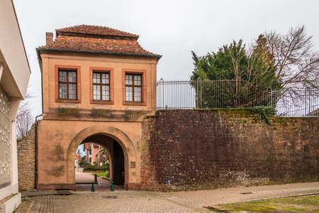 Defense Wall and Entrance Gate, ger. Landauer Tor, fra. Porte de Landau, in Lauterbourg, Wissembourg, Bas-Rhin, Grand Est, France