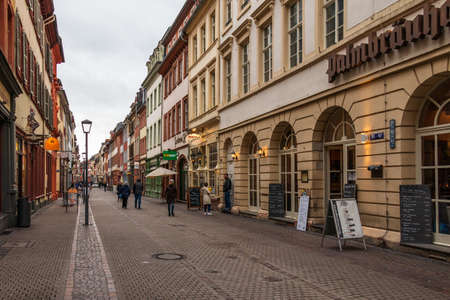 Typical Street Scenario of Main Street in Downtown of City Heidelberg, Baden-Wuerttemberg, Germany. Europe