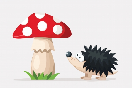 hedgehog near a red fly agaric Vector