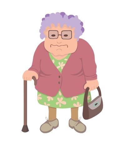 alte Frau mit Gehstock