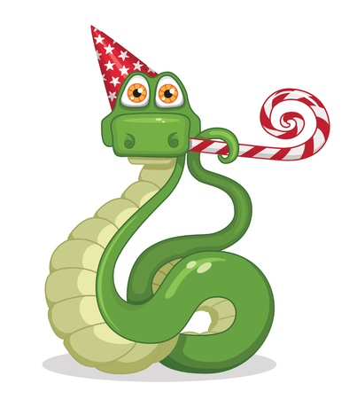 snake celebrating new year Vector