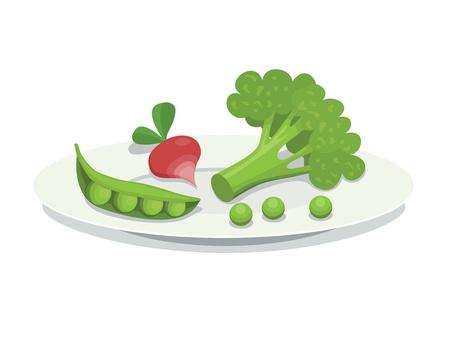 신선한 야채와 함께 접시 일러스트