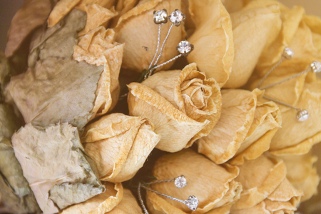 Dry roses, wilted wedding bouquet, beautiful wedding bouquet of old roses, the end of love, Heartbreak 版權商用圖片