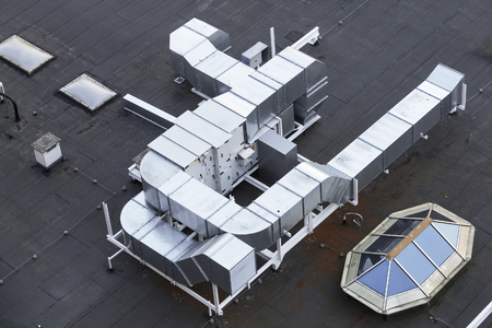 Ventilation system on the roof of the house, metal ventilation shafts