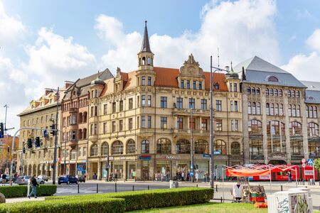 Poland, Wroclaw, September 20, 2018 Central Street of Wroclaw, Old architecture in the city, Europe