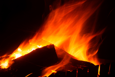 burning firewood on a black background close-up, background image, for placing text