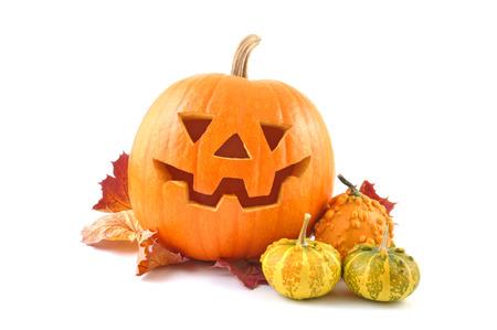cucurbit: Lantern halloween pumpkin with autumn leaves  Stock Photo