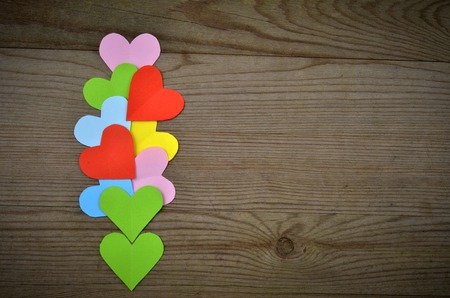 st  valentin: Valentines  Hearts over Wooden Background