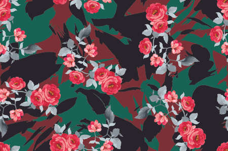 Seamless repeating pattern, endless colored flower and rose print pattern