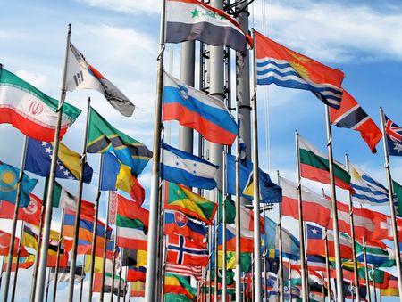 international: International flags on sky (Leipzig exhibition) Stock Photo