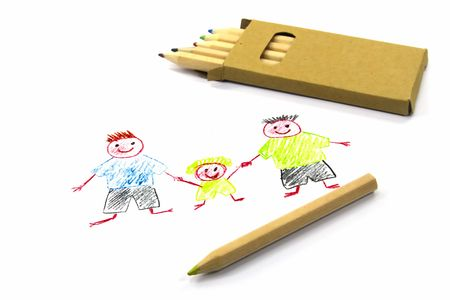 Childs drawing with two dads on white paper