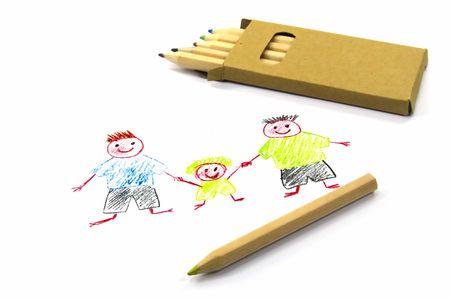 Disegno Di Un Bambino : Disegno del bambino con due papà su carta bianca foto royalty free