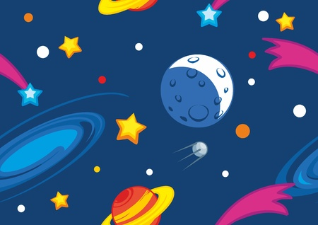 Seamless vector pattern with planets and stars