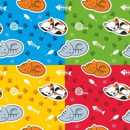 cat sleeping: Seamless pattern with cats in four color schemes Illustration
