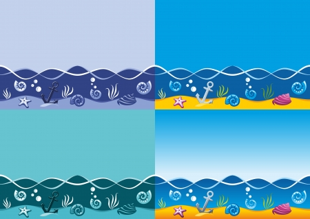 oceanside: Sea background, marine seamless pattern with seaweed, seashells and anchor, four color variations