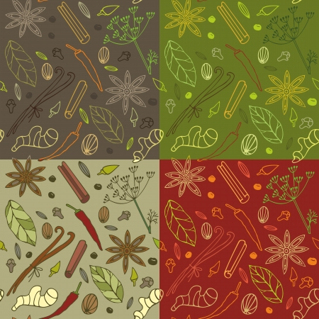 herb: Seamless pattern with different spices in four color variations