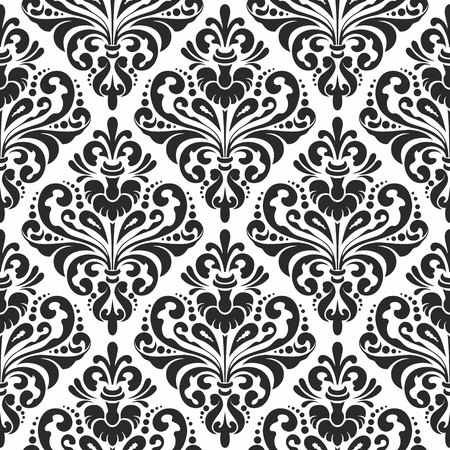 Black and white seamless damask wallpaper pattern Иллюстрация