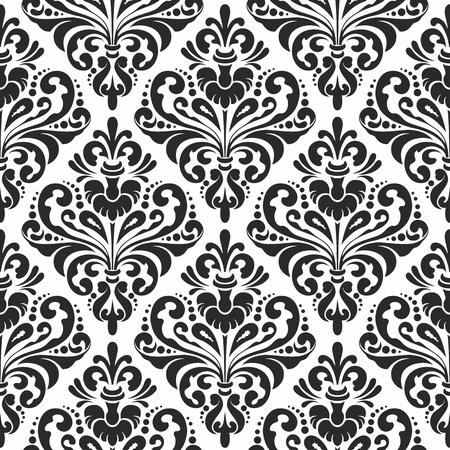 seamless damask: Damasco blanco y negro sin fisuras patr�n de papel tapiz