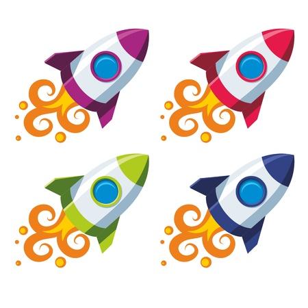 nave espacial: foguete em quatro esquemas de cores sobre um fundo branco