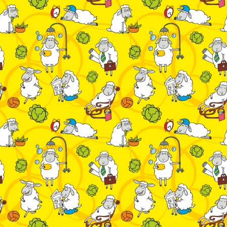 pattern with cartoon sheep on yellow background Vector