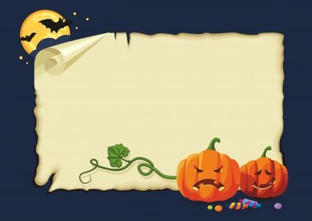 Leere Halloween-Karte mit Kürbis, Süßigkeiten und Fledermäuse