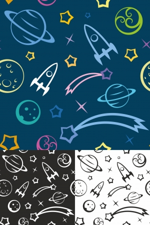 Easy editable seamless pattern with planets and stars