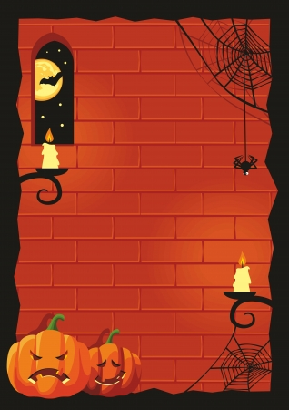 Halloween background with pumpkins, frame, no gradients