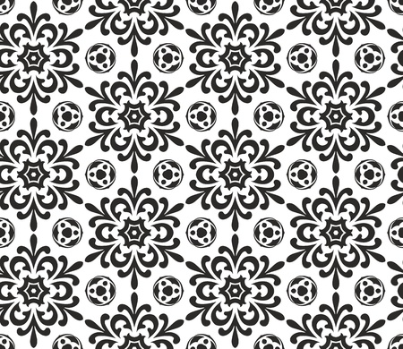 Abstract black and white seamless wallpaper pattern Vector