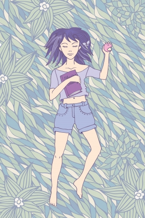 Young girl sleeping on the grass with a book in a the hand Vector