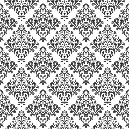 Black and white floral damask wallpaper pattern