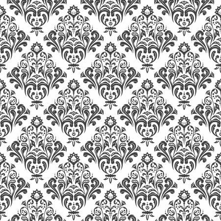 Zwart-wit bloemen damast behang patroon