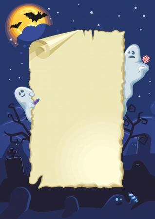 Lege Halloween kaart met spoken in de nacht Stock Illustratie