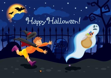 Halloween kaart met een geest die de snoepjes gewonnen van een jongen