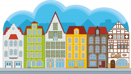Group of small houses in european style, street with townhouses Stock Vector - 14642640