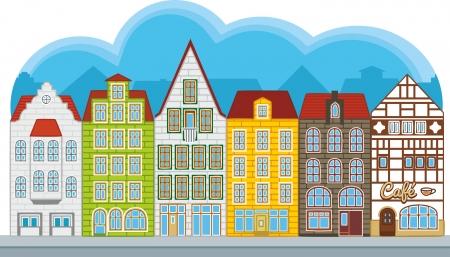townhouses: Grupo de peque�as casas de estilo europeo, calle con casas