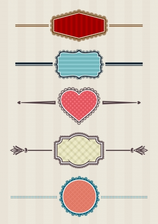 laced: Five laced retro badges, layered vector
