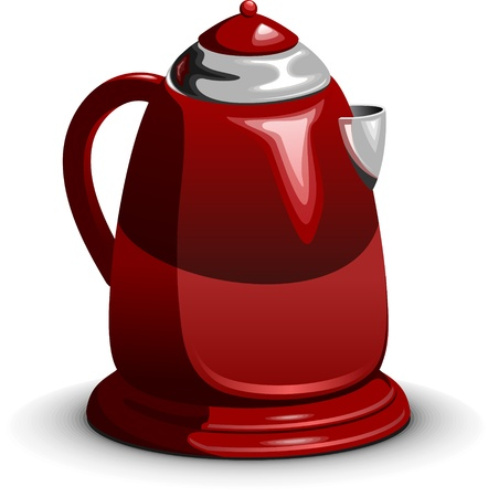 kitchen appliances: Red waterboiler, electric teapot standing on white background, layered  Illustration