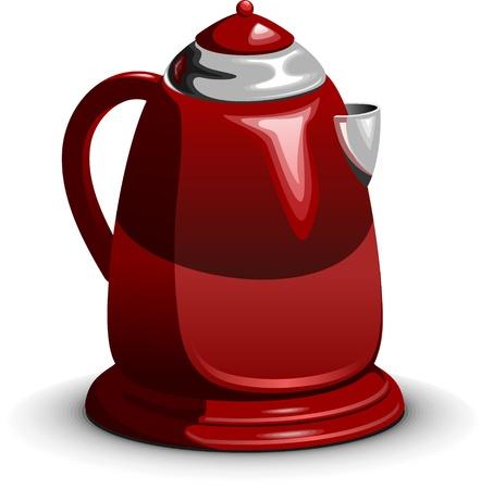 Rode waterkoker, elektrische theepot staande op een witte achtergrond, gelaagde