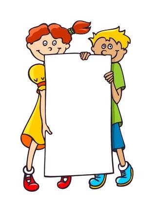 Two kids holding a blank banner Illusztráció
