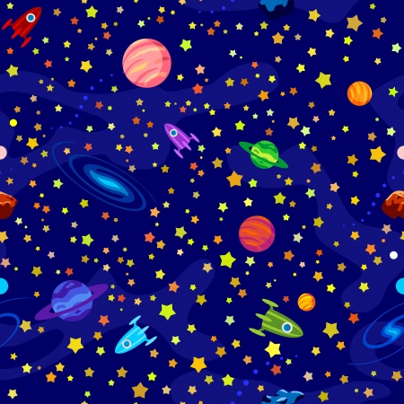 Seamless pattern with planets, stars on blue background Vector