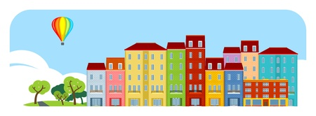 residential district: A street in a small town Illustration