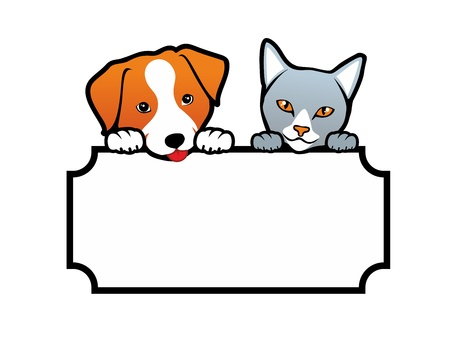 Dog and Cat holding a blank banner Illustration