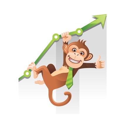 caricaturas de animales: Monos juguetones que cuelga en la tabla verde