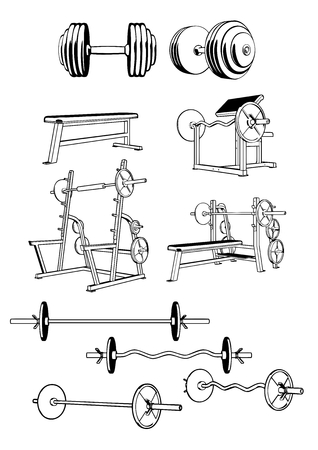 bicep curls: Vector set including ten objects related to gym equipment