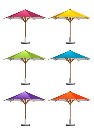outdoor furniture: Six colorful market umbrellas