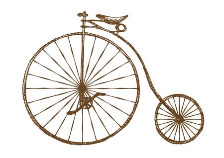 old fashioned: Hand-drawn old fashioned bicycle, retro bike Illustration