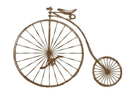 Hand-drawn old fashioned bicycle, retro bike Illustration