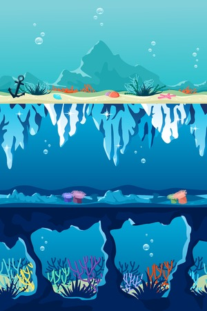 Set of sea backgrounds for side scrolled games