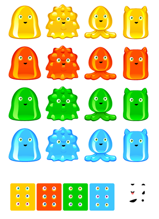 jelly head: Jelly monsters collection, character set for mobile games Illustration